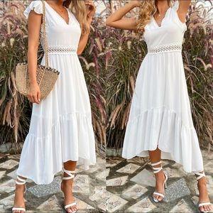Boho white lace insert dress